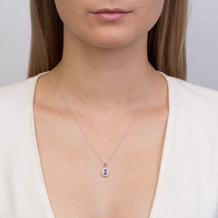 Pendant with Tanzanite & 1/3 Carat TW of Diamonds in 10kt White Gold
