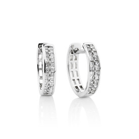 Huggie Earrings with 0.25 carat TW of Diamonds in Sterling Silver