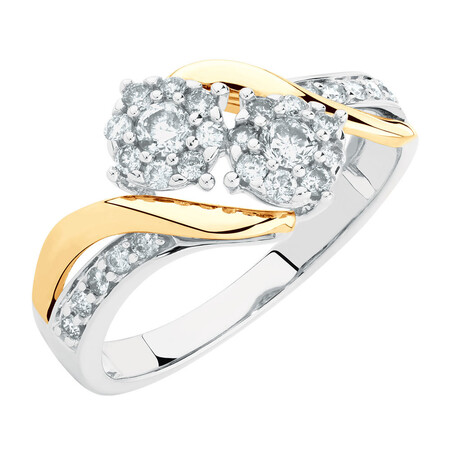 Evermore Engagement Ring with 0.50 Carat TW of Diamonds in 10kt White & Yellow Gold