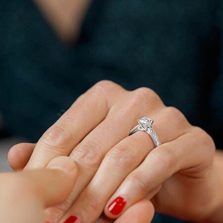 Solitaire Engagement Ring With 1 1/4 Carat TW of Diamonds In 14kt White Gold