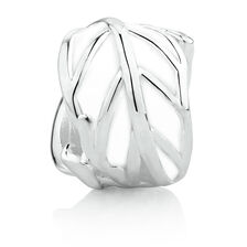 Leaf Charm with White Enamel in Sterling Silver