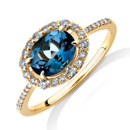 Natural Topaz Ring with 0.25 Carat TW of Diamonds in 10kt Yellow Gold