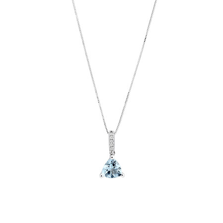 Pendant with Aquamarine with Diamonds in 10kt White Gold