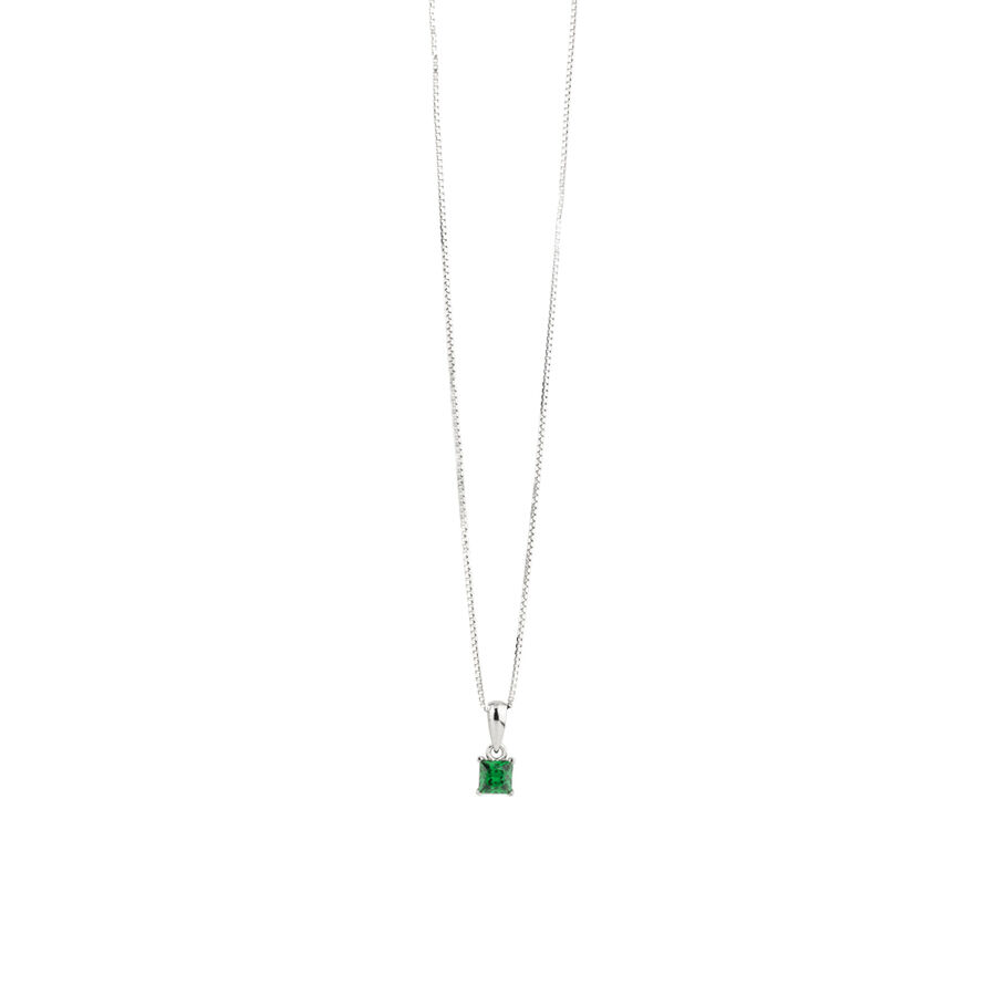 Square Pendant with Emerald Cubic Zirconia in Sterling Silver