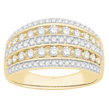 Five Row Ring with 1.00 Carat TW of Diamonds in 10kt Yellow Gold