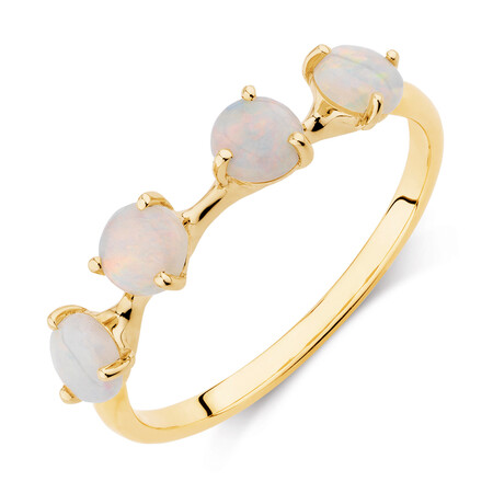 Ring with Natural White Opals in 10kt Yellow Gold