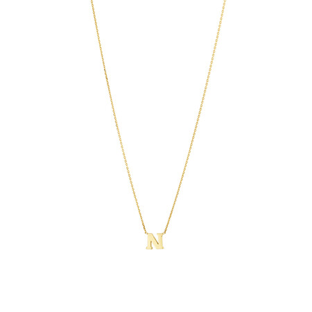 """""""N"""" Initial Necklace in 10kt Yellow Gold"""
