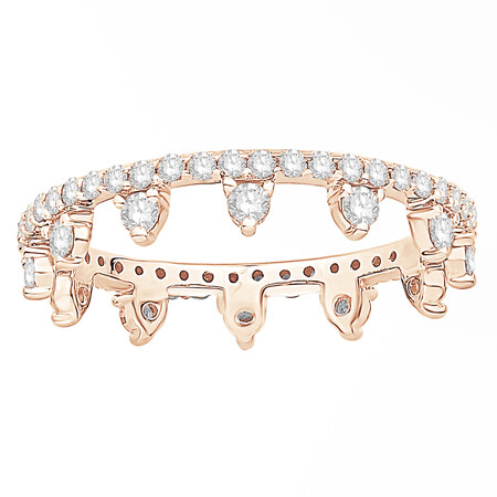 Zipper Ring with 0.75 Carat TW of Diamonds in 10kt Rose Gold