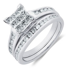 Bridal Set with 3 Carat TW of Diamonds in 14ct White Gold