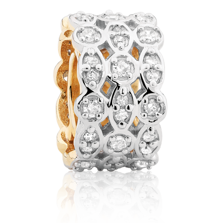 Charm with 0.26 Carat Total Weight of Diamonds in 10kt Yellow Gold & Sterling Silver