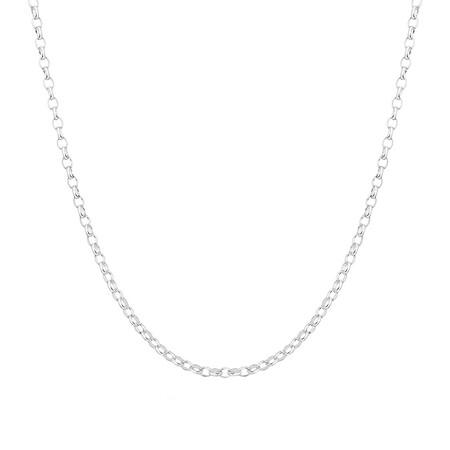 "45cm (18"") Diamond Cut Rolo Chain in 18kt White Gold"