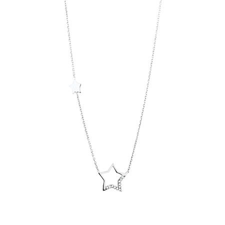 Star Necklace with Cubic Zirconia in Sterling Silver