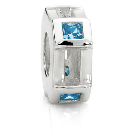 Blue Cubic Zirconia & Sterling Silver Spacer