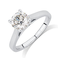 Certified Solitaire Engagement Ring with a 1.23 Carat Diamond in 14kt White Gold