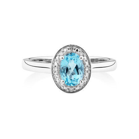 Halo Ring with Topaz & Diamonds in Sterling Silver