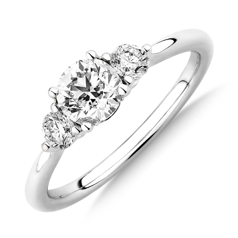 Sir Michael Hill Designer Three Stone Engagement Ring with 0.90 Carat TW of Diamonds in 18kt White Gold