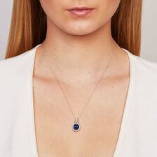 Online Exclusive - Pendant with Created Sapphire & 0.15 Carat TW of Diamonds in 10kt White Gold