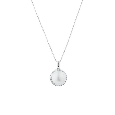 Pendant with 0.21 Carat TW of Diamonds & a Cultured Freshwater Pearl in 10kt White Gold