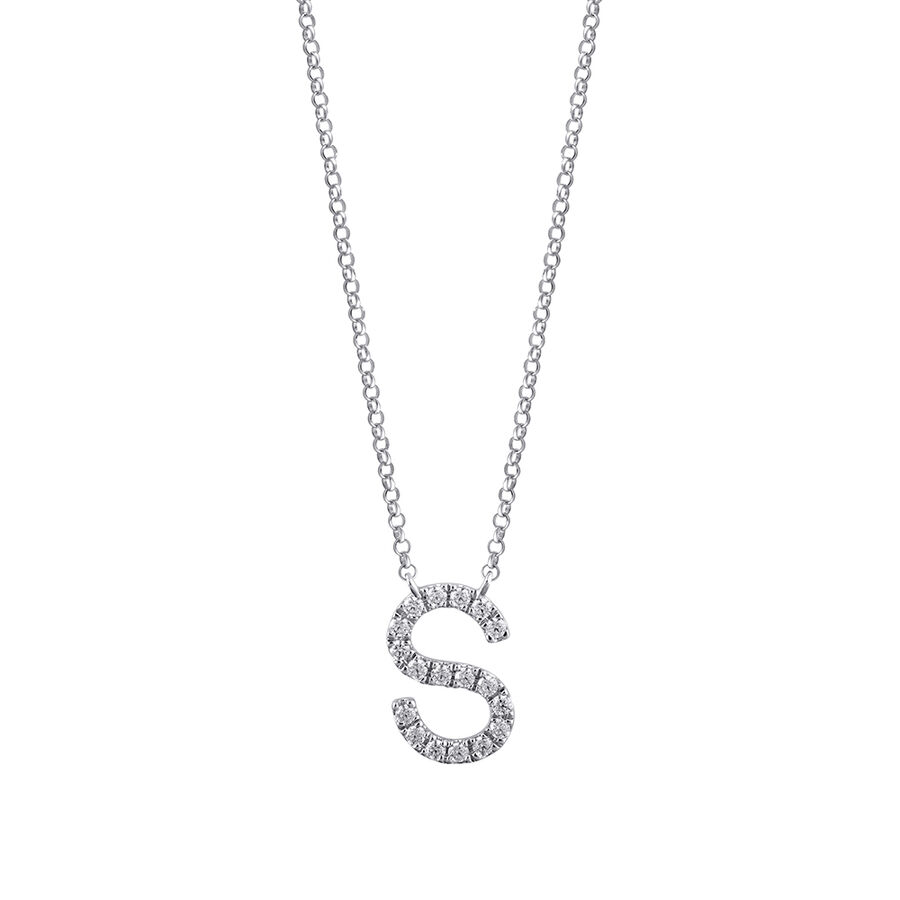 S' Initial necklace with 0.10 Carat TW of Diamonds in 10kt White Gold