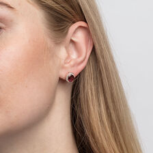 Earrings with Rhodolite Garnet and Diamonds in 10kt Rose Gold