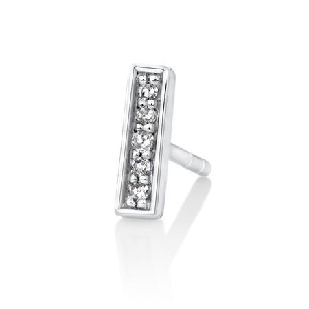 Men's Bar Stud Earring with Diamonds in 10kt White Gold