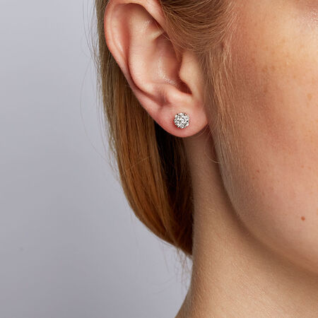 Cluster Stud Earrings with 0.33 Carat TW of Diamonds in 10kt White Gold