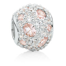 Charm with Blush Crystal & White Cubic Zirconia in Sterling Silver