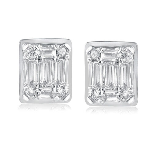 Rectangle Stud Earrings with 0.20 Carat TW of Diamonds in 10kt White Gold