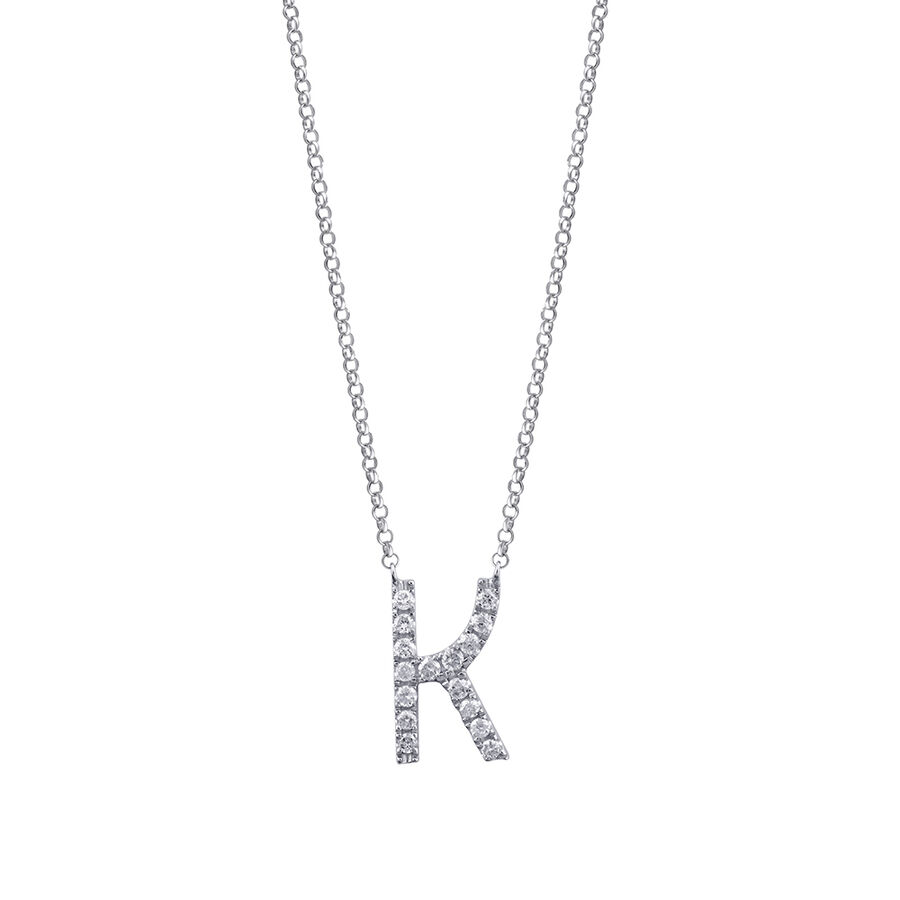 K' Initial necklace with 0.10 Carat TW of Diamonds in 10kt White Gold