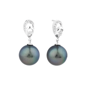 Earrings With Tahitian Pearl & Diamonds In 14kt White Gold