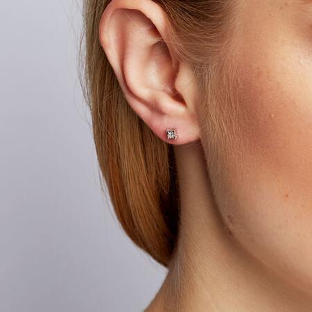 Stud Earrings with Diamonds in Sterling Silver