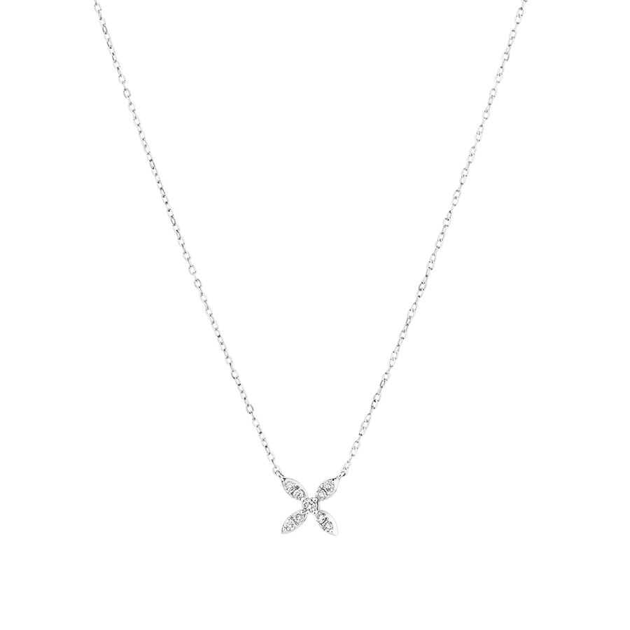 Flower Necklace with 0.15 Carat TW Of Diamonds in 10kt White Gold