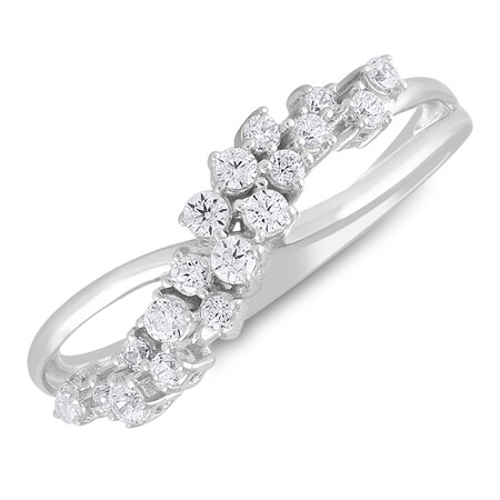 Two Row Ring with 0.25 Carat TW of Diamonds in 10kt White Gold