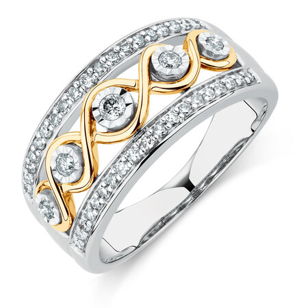 Ring with 1/3 Carat TW of Diamonds in Sterling Silver & 10kt Yellow Gold