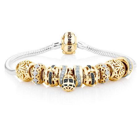 0.43 Carat White & Enhanced Black Diamond Charm Bracelet