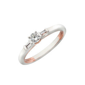 Three Stone Ring with 0.26 Carat TW of Diamonds in 10kt White & Rose Gold