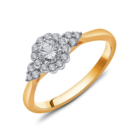 Ring with 1/2 Carat TW of Diamonds in 10kt Yellow & White Gold