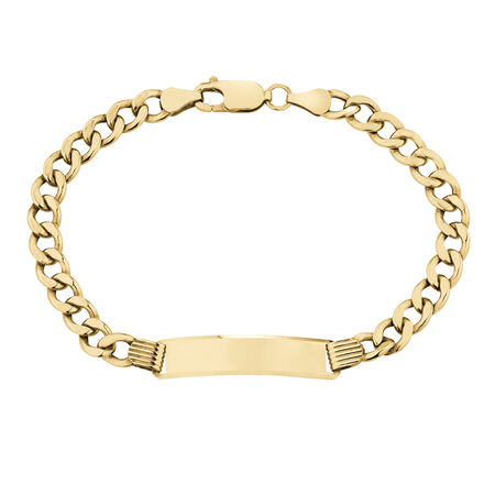 """19cm (7.5"""") Hollow Curb ID Bracelet in 10kt Yellow Gold"""