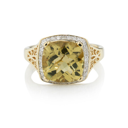 Online Exclusive - Ring with 0.14 Carat TW of Diamonds & Quartz in 10kt Yellow Gold