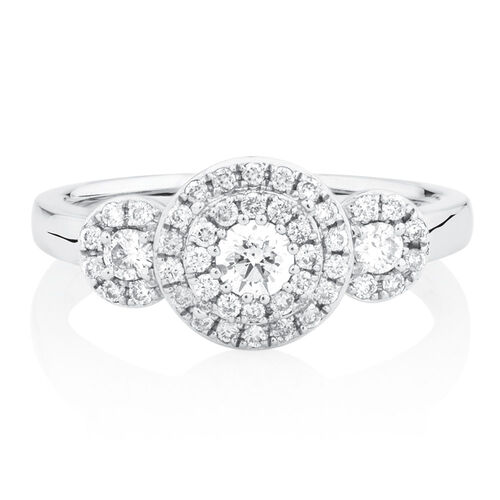 Engagement Ring with 0.58 Carat TW of Diamonds in 10kt White Gold