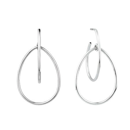 Double Pear Earrings in Sterling Silver