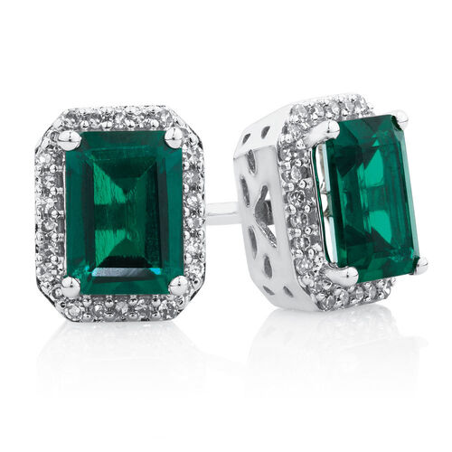 Earrings with Created Emerald & Diamonds in 10kt White Gold