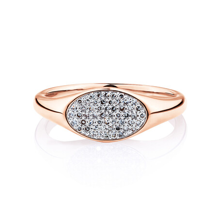Oval Signet Ring with 1/6 carat TW of Diamonds in 10kt Rose Gold