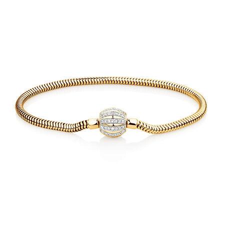 "21cm (8.5"") Charm Bracelet with 0.53 Carat TW of Diamonds in 10kt Yellow Gold"