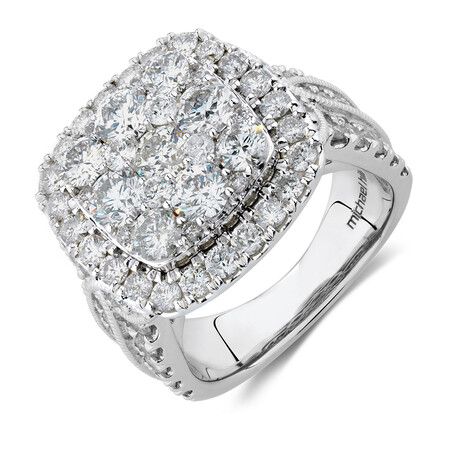 Cluster Halo Ring with 4 Carat TW of Diamonds in 10kt White Gold