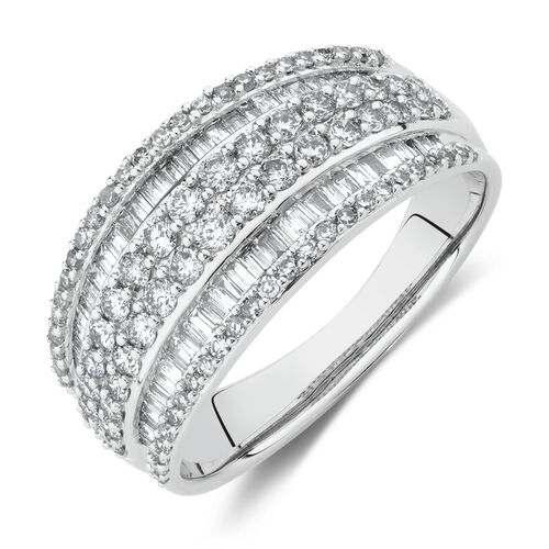 Six Row Ring with 1 Carat TW of Diamonds in 10kt White Gold