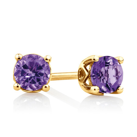 4mm Stud Earrings with Amethyst in 10kt Yellow Gold