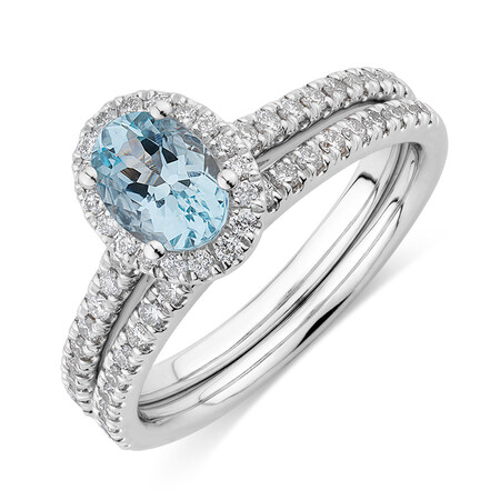 Bridal Set with 1/2 Carat TW of Diamonds & Aquamarine in 14kt White Gold