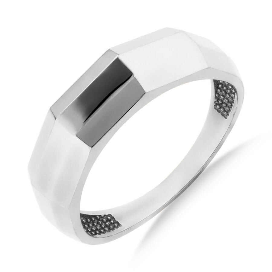 Oblong Faceted Ring in 10kt White Gold