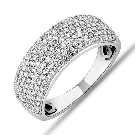 Diamond Pave Ring with 1.00 Carat TW Diamond in 10kt White Gold